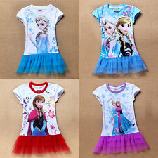 Girl Kids Princess Frozen Queen Elsa Anna Short Sleeve T-Shirt Casual 2-8Y Dress