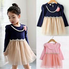 Long Sleeve Kids Girl Baby Pageant Wedding Bridal Party Prom Skirts Lace Dress