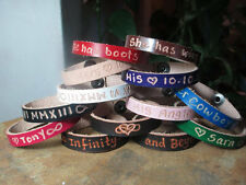 PERSONALIZED ENGRAVED LEATHER BRACELET, SAY WHAT YOU WANT, UNISEX KIDS & ADULTS