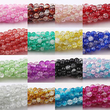 Wholesale 50/100/200Pcs Round Czech Glass Crack Craft Crystal Spacer Beads 6MM