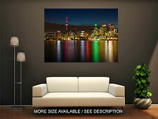 Wall Art Canvas Print Picture Toronto Skyline Night Colorful Lights-Unframed