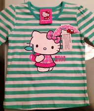 Baby girls toddler Hello Kitty Cotton Long Sleeve Top BNWT Glitter Tee T-Shirt