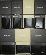 Genuine Michael Kors Mens Wallet $40 Passcase Leather Black/Brown Trifold/Bifold