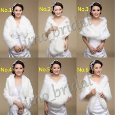 Ivory Faux Fur Wedding Bridal Shrugs Wraps Cape Bolero Shawl Coat Stole Jackets