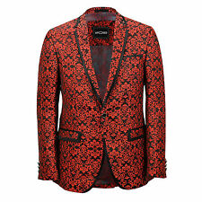 Mens Red Paisley Print Italian Designer Suit Jacket Fitted Blazer UK 36 to 54