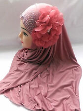 One Piece Hijab Scarf With Large Flower And Diamante Decoration Many Colours