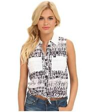 Hurley Wilson Tie Tank Top Womens Button Up Shirt White Black 100% Cotton NWT