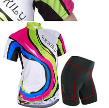 Women Bike Bicycle Outdoor Cycling Comfortable Jersey+Shorts 3D GEL Pad S-XL