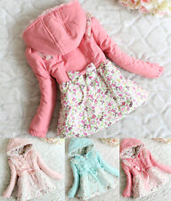 Baby Girls Floral Lace Double Breasted Hoodie Jacket Kid Slim Outwear Lined Coat