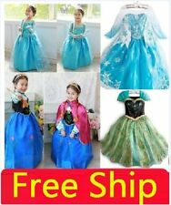 Kids Girls Disney Princess Dresses Frozen Anna Elsa dress cosplay party costume