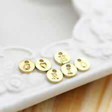 A-Z 6MM Gold metal Charms Letters Alphabet top hole Nickle free (15-1-489)