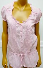 Converse One Star XS SHIRT BLOUSE TUNIC PINK STRIPED SS NWTS VINTAGE 1908 BUTTON