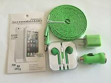 EarBuds WMic&Volume iPhone 5/5S/4/4S&3M/10Ft Flat Braided Cable&Wall Plug&Extras