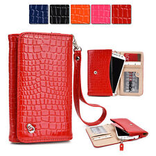 New Slim Crocodile PU Leather Wrist-let Cover Wallet Case DV|Q fits Mobile Cell