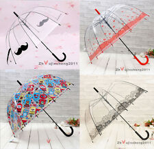 Lady Girls Sweet Transparent Umbrella Long Handle Umbrella Many Pattern Choose