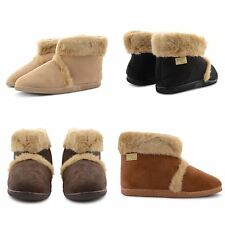 NEW MENS COOLERS FLAT MICROSUEDE FURRY LINED SNUGG SLIPPER ANKLE BOOTS ADULT UK