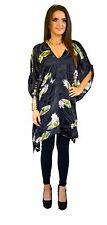 Women's Silk Lotus Print Long Top/Kaftan Dress Sizes 6-26 and Plus Size Resort