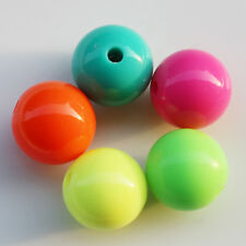 50Pcs Fluorescent Color Acrylic Round Spacer Beads Loose Ball Charms Beads