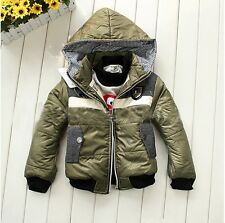 Kids Boys Winter Warm Badge Down Jacket Coat Thickened Lined Hooded Snowsuit WS