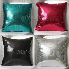 Solid Color Glitter Sequin Throw Pillow Case Home Car Office Waist Cushion Cover