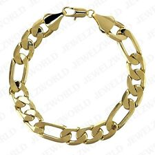 MENS 12MM 14K GOLD PLATED PREMIUM QUALITY FIGARO LINK CHAIN BRACELET