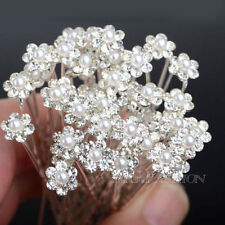 20/40Pcs Wholesale Wedding Bridal Pearl Flower Crystal Hair Pin Clips Bridesmaid