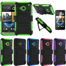 For HTC One M7 Shockproof Armor Heavy Stand Case Cover & Holster & Film Protect
