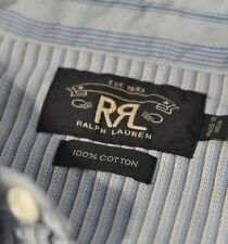 NWT RRL RALPH LAUREN BLUE STRIPED COTTON BUTTON DOWN SHIRT