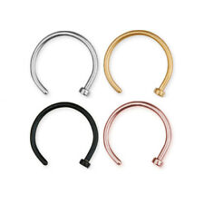 316L Surgical Steel, Gold, Rose & Black PVD Nose Stud Ring Hoop Body Jewellery