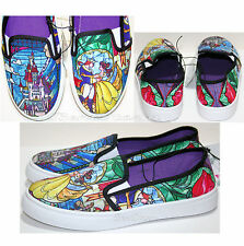 DISNEY BEAUTY & BEAST BELLE STAINED GLASS WOMENS SLIP ON TENNIS SHOES SNEAKERS
