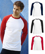 Fruit of the Loom Mens Long Sleeve Baseball T-Shirt Tee, Sizes Small to 2XL