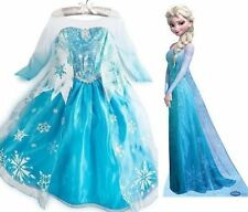 Frozen Elsa Anna Costume Disney Princess Girls Child Fancy Outfit Long Dress #