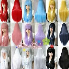 "32""/80 Heat Resistant Bangs Synthetic Hair Long Straight Cosplay Anime Full Wigs"