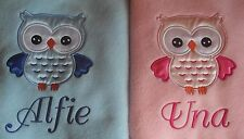 PERSONALISED SATIN OWL BABY FLEECE BLANKET PINK OR BLUE, GREAT GIFT!!! L@@K!!!!