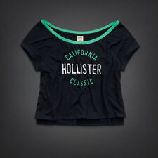 NWT Hollister Bettys Cropped Easy Fit T- Shirt Navy Small Medium Women's