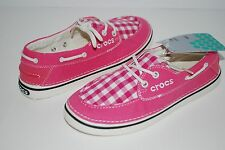 NEW NWT CROCS HOVER SLIP ON BOAT GINGHAM CANVAS WOMENS HOT PINK shoes 6 7 8 9