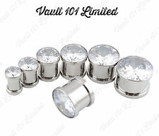 CZ Crystal Gem Metal Ear Plug Flesh Tunnel SCREW ON 6mm - 16mm