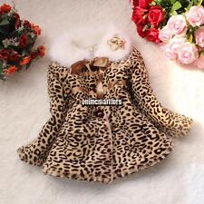 New Girls Faux Fur Leopard Baby Fleece Lined Coat Kids Winter Warm Jacket
