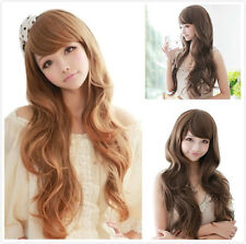 Brown/Black Fashion Womens Long Ladies Wavy Curly Vogue Cosplay Party Full Wigs