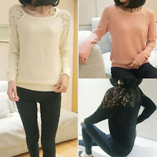 Women Fashion Lace Knitted Sweater Long Sleeve Pullover Jumper Knitwear Coat Top