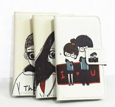 Cute Cartoon Glasses Lovers Flip Leather Card Wallet Cover case For Nokia phones