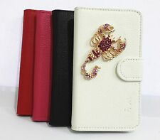 3D Diamond Crystal Scorpions Flip Leather Wallet Pouch Cover Case For HTC Phones