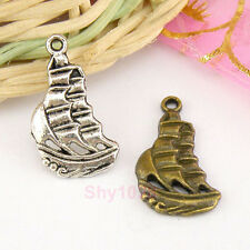 15Pcs Tibetan Silver,Antiqued Bronze Yacht Sailboat Ship Charms Pendants M1561