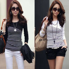 Fashion New Womens Ladies Striped Tops Slim Long Sleeve T-Shirt Casual Blouse