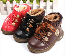 Fur Winter Martin Boots Girl Boy Toddler Kids Baby Warm Shoes Leopard Head New