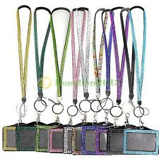 A1ST Horizontal Resin Rhinestone Crystal Work Card ID Case Holder Lanyard Sling