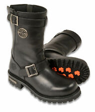"""Mens Black Leather Classic Engineer Boots, 11"""" Tall"""