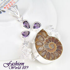 Excellent Handmade Natural Ammonite Fossil Gemstone Silver Pendant Jewelry