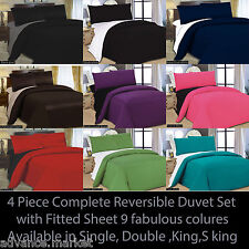 4 PCS COMPLETE REVERSIBLE DUVET COVER & FITTED SHEET BED SET ALL SIZES
