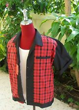Hand Made 1950's Style Mens Rockabilly Bowling Shirt Black  & Red  Check